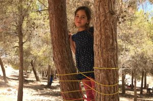 A girl standing on the ladder she built in Mitzpe Ramon, Israel
