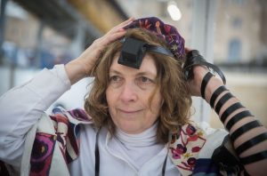 Anat Hoffman of the Women of the Wall seen at the Western Wall, as the group got together to teach women how to wear and pray with teffilin, on February 7, 2016 The Knesset voted that Women of the Wall will be allowed to perform pluralistic prayers at the extention of the Western Wall, by Robinson's Arch, and not at the Women's prayer section of the Wall, which has been the goal of an over 25-year long struggle by the group. Photo by Hadas Parush/Flash90
