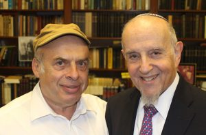 Jewish Agency chairman Natan Sharansky, left, protested on behalf of Rabbi Haskel Lookstein after a conversion performed by the prominent modern Orthodox spiritual leader was rejected by the Chief Rabbinate of Israel. (Ben Sales)